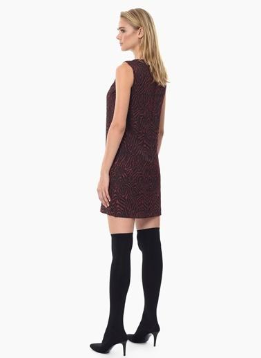 NetWork Kolsuz Desenli Mini Elbise Siyah